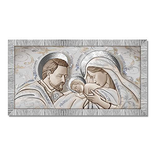 Lupia Quadro con Cornice Sacra Famiglia Giovy Bianca Argento 60x110 cm The Kiss Ceramic Mix Glitter