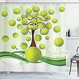 ABAKUHAUS Tennis Duschvorhang, Tennisbälle Muster, mit 12 Ringe Set Wasserdicht Stielvoll Modern Farbfest & Schimmel Resistent, 175x200 cm, Hellgrün Braun Weiß