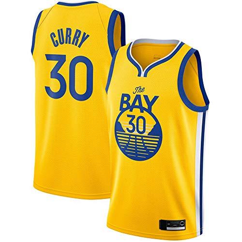 LYY Jersey Men's, NBA Golden State Warriors # 30 Stephen Curry - Classic Baloncesto Sportswear Flojo Comfort Chalecos Tops, Camisetas Sin Mangas Uniformes,Amarillo,XXL(185~195CM)