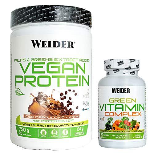 Weider Protein vegan capuccino 750 g + green vitamin complex, Pack vegano de proteina y multivitamico, Ideal para tu salud a un precio inmejorable,