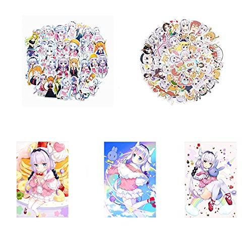 Saicowordist Miss Kobayashi's Dragon Maid - Juego de regalo para fans del anime, incluye 87 pegatinas de anime, 9 piezas de póster Kanna Kamui
