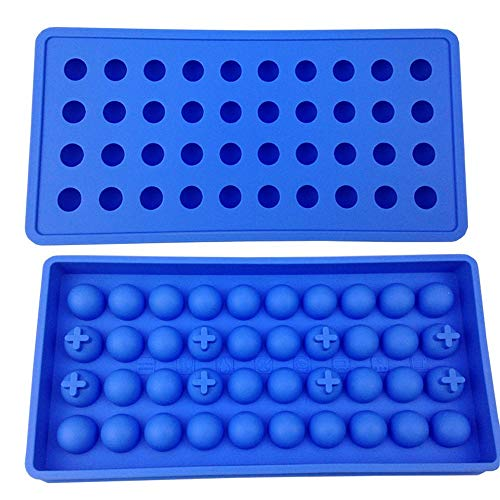Mydio 40 Tray Mini Ice Ball Molds DIY Molds Tool for Candy pudding jelly milk juice Chocolate mold or Cocktails & whiskey particles,Pale Blue(1 pack)