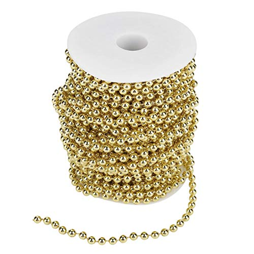 25m Pearl Wire Beads,ABS Material Garland String, Garland Roll of Beads Pearl,Chain Beaded, for Decorating Crafts Wedding Party Supplies(Golden)