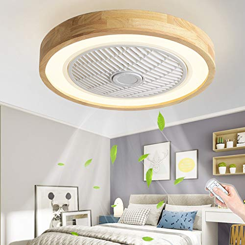 Madera Ventilador De Techo Con Luz LED Mando A Distancia Moderna 72W...