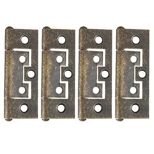 CUTOOP 4 bisagras de rodamiento de bronce antiguo de aleación vintage, puertas internas de estilo chino, gabinete, bisagras de metal para caja de joyería de madera accesorios de muebles (grande)
