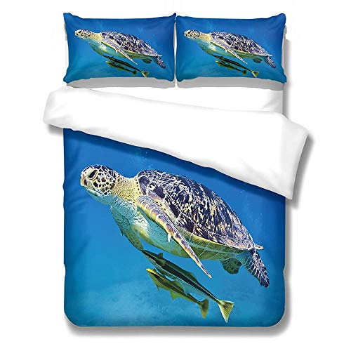 Duvet Cover Set Single-Zipper Closure with 1 Pillow cover Bedding Set Ultra Soft Hypoallergenic Microfiber Quilt Cover Sets Sea turtle