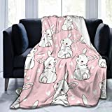 Gaseekry Blanket Hand Drawn Rabbit Bunny Heart Fleece Flannel Throw Blankets for Couch Bed Sofa Car,Cozy Soft Blanket Throw Queen King Full Size for Kids Women Adults 50'X40'