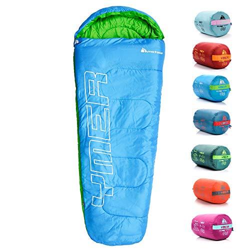 meteor Sacco a Pelo Mummia Ideale per Bambini - Campeggio Viaggio Escursioni Trekking Albergo Treno - leggero Compatto Confortevole con Sacco a Compressione YMER ((130 + 25) x 60/40 cm, Blu/verde)