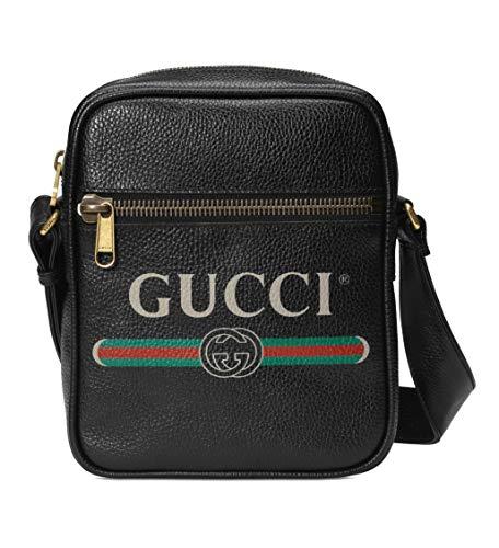 Gucci Umhängetasche mit Marken-Aufdruck, Leder, Schwarz, aus Italien