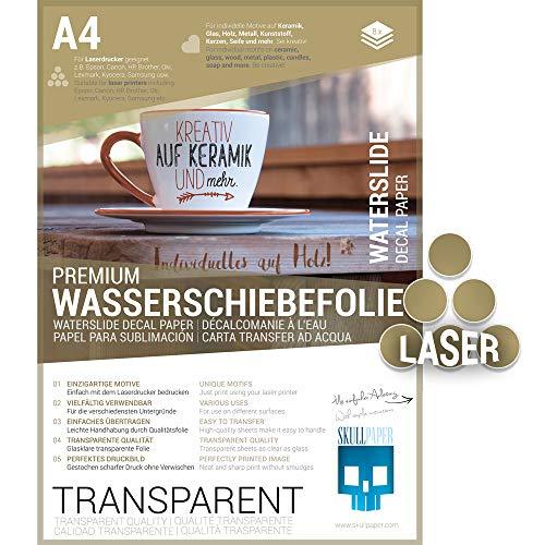 SKULLPAPER® Wasserschiebefolie TRANSPARENT für Laserdrucker - hauchdünn DIY Decal Abziehbild - Nassschiebefolie für Keramik, Glas, Kerzen, Metall, Kunststoff, Modellbau (A4-8 Blatt)