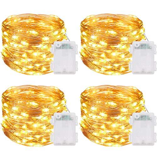 Lichterkette Batterie[4 Pack], Kolpop 5m 50er Micro Led Lichterkette außen mit Timer Kupferdraht Wasserdichte Lichterkette Draht für Innen/Außen Garten Party Weihnachten Hochzeit Deko(Warmweiß)