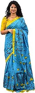 ساري مومول من القطن للنساء أزرق من آيكات طباعة كتلة اليد جايبيوري مع بلوزة قطعة - متعدد الألوان