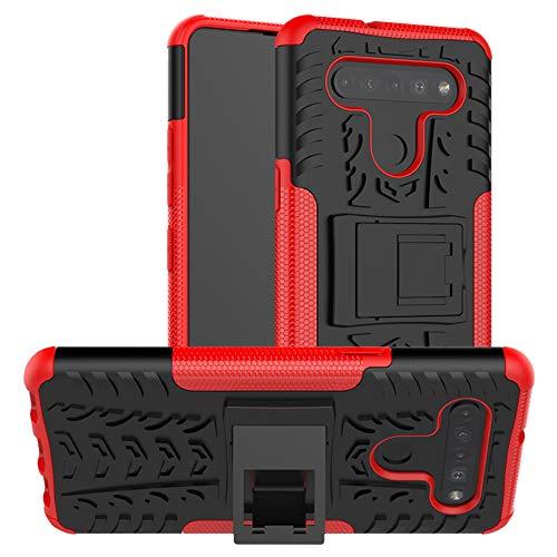 LiuShan Compatibile con LG K51S Custodia,LG K41S Custodia,Protettiva Shockproof Rigida Dual Layer Resistente agli Urti con cavalletto Caso per LG K51S /LG K41S Smartphone,Rosso