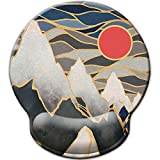 Mouse Pad with Wrist Rest Support, Custom Original Memory Foam Wrist Rest Pad Non-Slip Ergonomic Desk Gaming Mouse Mat for Home & Office (Japanese Ocean Waves Sunrise Mountains)