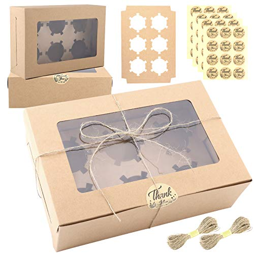 Ruisita 30 Pack Cupcake Boxes Kraft Paper Cupcake Carriers Bakery Box with Inserts and Window Cake Carrier Container Cookie Gift Boxes 6 Holders for Dessert, Pastries, Cake, Muffin, Donut, Macaron