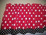 Red Black Polka Dot Mickey Minnie Mouse Retro Kitchen bedroom fabric Decor window treatment curtain topper Valance