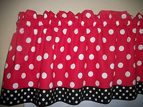 Amazon Com Red Black Polka Dot Mickey Minnie Mouse Retro Kitchen Bedroom Fabric Decor Window Treatment Curtain Topper Valance Handmade