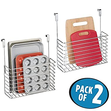mDesign Metal Over Cabinet Kitchen Storage Organizer Holder or Basket - Hang Over Cabinet Doors in Kitchen/Pantry - Holds Bakeware, Cookbook, Cleaning Supplies - 2 Pack, Steel Wire in Chrome