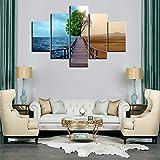5 Paneele Baum des Lebens Leinwand Wandkunst Oasis