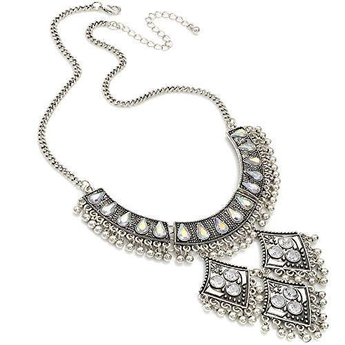 Unique Gifts On The Web Burnished silver AB crystal dangling bead choker necklace costume jewellery