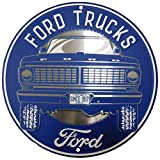 Ford Trucks Built Tough Since 1917 Round 12' Diameter Metal Plate Sign - Made in USA