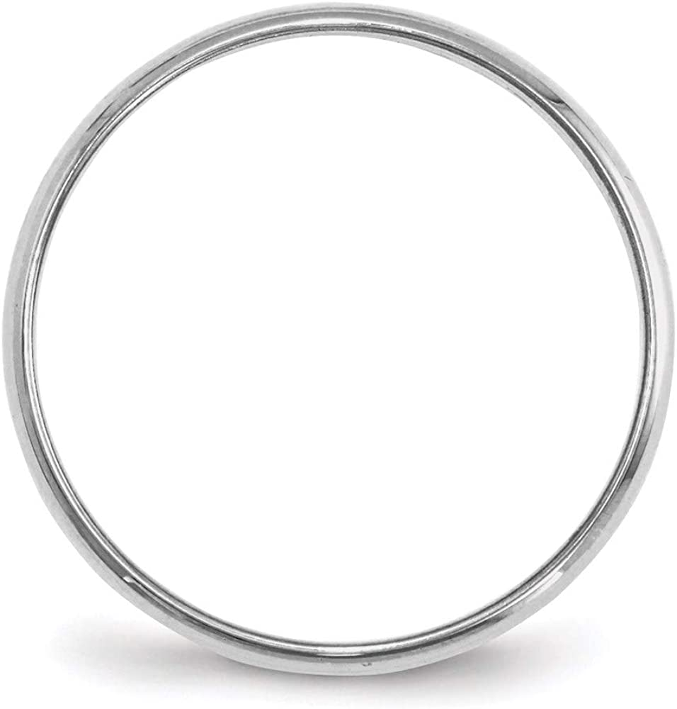 10 White Gold 2mm Half Round Wedding Ring Band Size Classic Fashion Jewelry For Women Gifts For Her