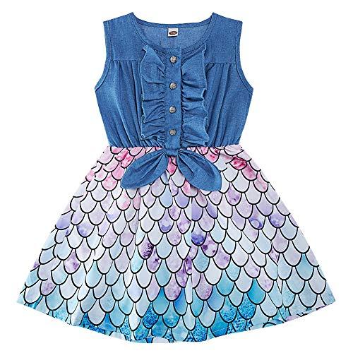 AIDEAONE Kleid für Mädchen Denim Kinder Sommerkleid Rock Ärmelloses Sommer Meerjungfrau Print Kleid 4-5 Jahre