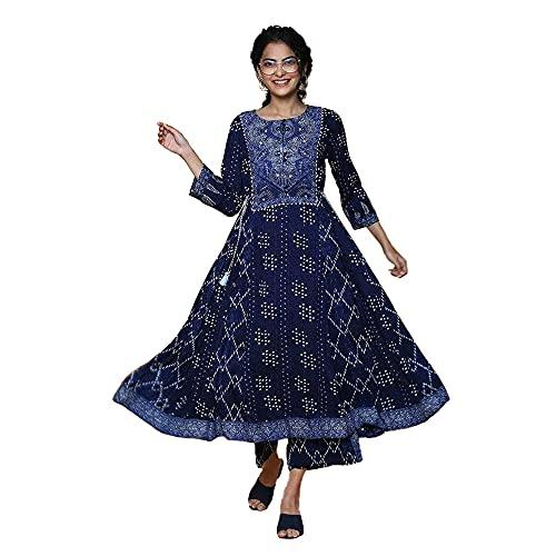 Biba Women's Synthetic Anarkali Salwar Suit Set (Skd5937_Aqua Blue_32, Aqua Blue, S)