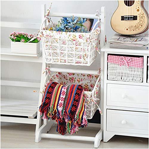 YINUO Balcon en bois massif support de fleurs support de sol étage mode simple gondole moderne cadre en rack porte-revues étagère multicouche Taille: 35.5x35x75cm (Color : White)