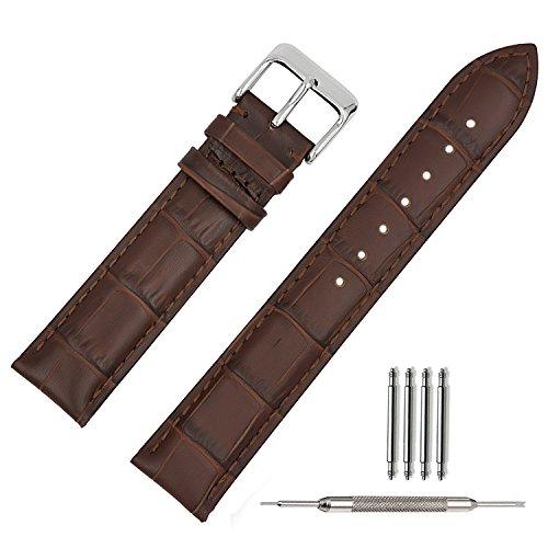TStrap Cinturino Pelle 20mm Cinturini Orologi con Chiusura Draccialetto da Uomo Donne Marrone