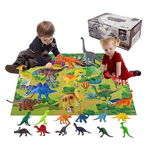 Bloomma Dinosaur Toys Mat Calendario dell'Avvento 2019 per Bambini, Giocattoli educativi con 24 Diverse Figurine di Dinosauri Calendari dell'avvento per Il Conto alla rovescia di Natale