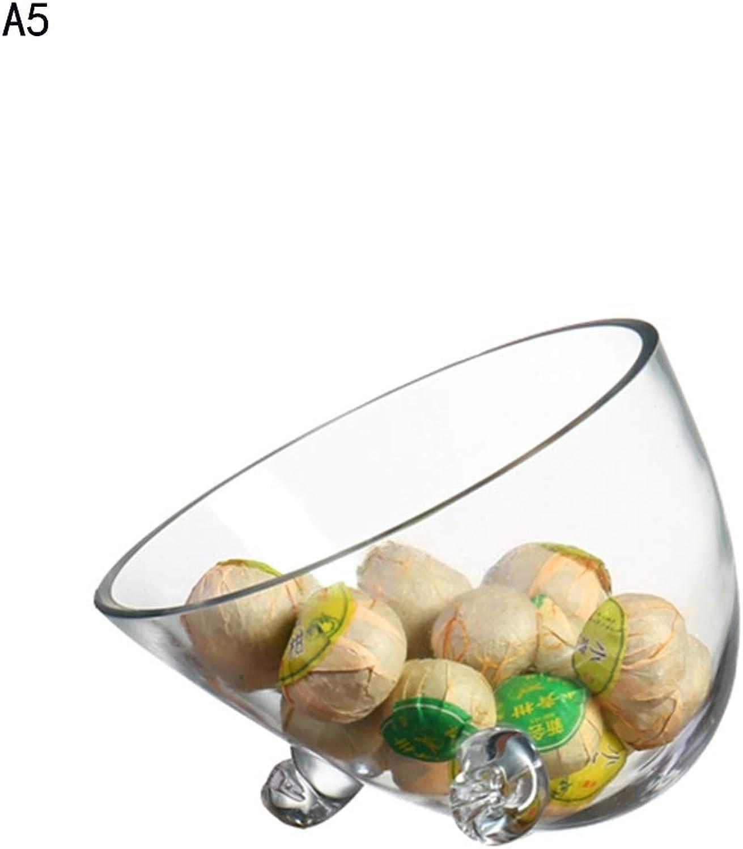 YJJL Assiettes à Fruits en Verre créatif Bol à Salade inclinée Assiette de Fruits Plat de Service Pot Chaud Pot Magasin Vaisselle Vaisselle Bol présentoir de Fruits (Couleur   A5)