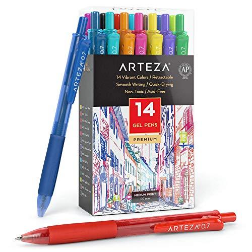 Arteza Bolígrafos de gel de colores, paquete de 14 tonos vivos diferentes, punta fina de 0.7 mm, 14 plumas de gel para escribir en tu diario, dibujar, hacer garabatos y tomar notas