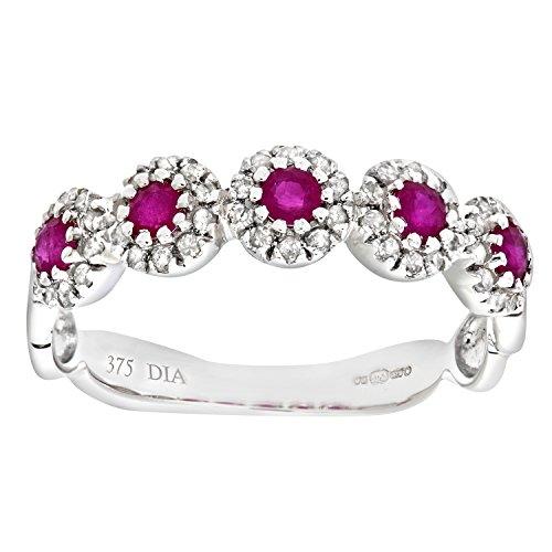 Naava Women's Eternity Ring, 9 ct White Gold Diamond and Ruby Ring, Pave Set