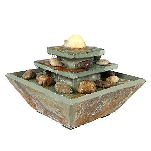 Sunnydaze Ascending Slate Tiered Tabletop Water Fountain with LED Light and Polished Stone Ball - Corded Electric - Home Decor Accent for Office, Bedroom or Living Room - 8 Inch