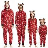 Pijamas Navideños Familiares con Capucha Cálidos de Manga Larga Algodon Pijamas Parejas e Hijos Conjunto Navidad Trajes Papá Mamá Niños y Bebe Reno Jumpsuit Overall Ropa de Dormir