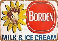 なまけ者雑貨屋 Borden Milk Ice Cream ブリキ看板 壁飾り レトロなデザインボード ポストカード サインプレート 【40×30cm】