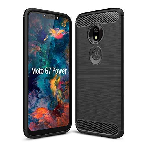SCL Hülle Für Moto G7 Power Handyhülle Motorola G7 Power Hülle Moto G7 Power, Carbon-Faser Gebürstete Textur Design Schutzhülle mit Anti-Kratzer & Anti-Stoß Absorbtion Technologie [Schwarz]