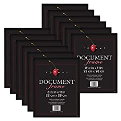 Includes 12-8.5x11 Inch matte black format frames for certificates or diplomas Frames have a thin black profile Frame features front loading design with polished edge glass Frames are ready for wall hanging either vertically or horizontally and inclu...