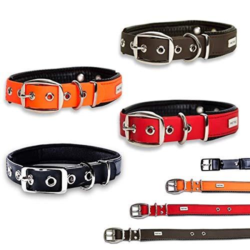 PetTec Halsband für große & kleine Hunde aus Trioflex™ verstellbar | wetterfest, wasserabweisend & robust in Farbe | Hundehalsband Rot, Hundehalsband Braun, Hundehalsband Schwarz, Hundehalsband Leuchtend Orange