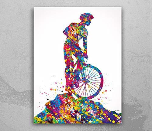 Mountain Biker Watercolor Print Dirt Bike Mountain Biker Cycling Mountain Biking Stunt Racing Off-Road Bicycling Road Bike MTB Wall Art-1514
