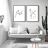 Mujer Boceto Línea Dibujo Lienzo Pinturas Arte abstracto moderno Carteles e impresiones Arte de pared nórdico Sala de estar Decoración para el hogar Imagen | 40x60cmx2 Sin marco