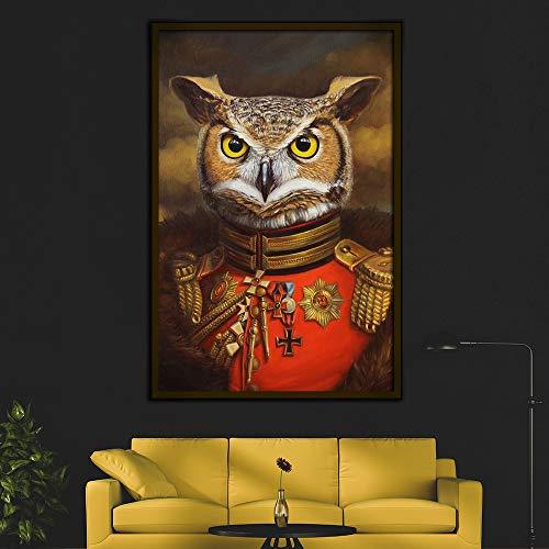 Rahmenlose Malerei Retro-Stil Wohnkultur Tier Poster Druck Nordic Porträt Leinwand Wandkunst DekorationZGQ2847 50X70cm