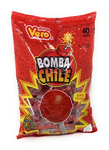 Mexican Candy Vero Lollipop Bomba Chile Strawberry Flavored & Chile Powder Filling 40 Pieces