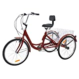 Slsy Adult Tricycles 7 Speed, Adult Trikes 20/24 / 26 inch 3 Wheel Bikes, Three-Wheeled Bicycles Cruise Trike with Shopping Basket for Seniors, Women, Men. (Tango Red, 26' Wheels/ 7-Speed)