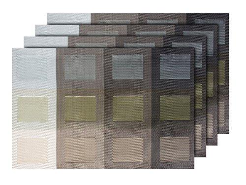 Lot de 4 Sets de Table (TS-68) Design Moderne pour décoration Sympa de qualité supérieure en PVC tressé: 45 x 30 cm. Le Set de Table a Un bel Aspect avec sa matière tissée et Brillante Élégante