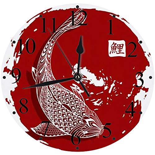 Silencioso Wall Clock Decoración de hogar de Reloj de Redondo,Dibujado a Mano Significado Tatuaje Koi Pez colorante Carpa Animales Fauna Silvestre Doodle Resumen,para Hogar, Sala de Estar, el Aula