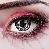 aricona Kontaktlinsen - weiß schwarz gemusterte Kontaktlinsen - Kontaktlinsen ohne Stärke als besonderes Halloween oder Steampunk Accessoire -