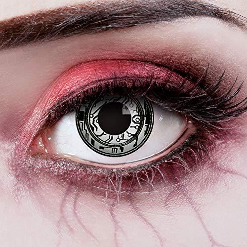 aricona Kontaktlinsen - weiß schwarz gemusterte Kontaktlinsen - Kontaktlinsen ohne Stärke als besonderes Halloween oder Steampunk Accessoire