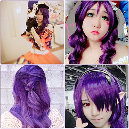 """Rbenxia Curly Cosplay Wig Long Hair Heat Resistant Spiral Costume Wigs Anime Fashion Wavy Curly Cosplay Daily Party Purple 32"""" 80cm"""